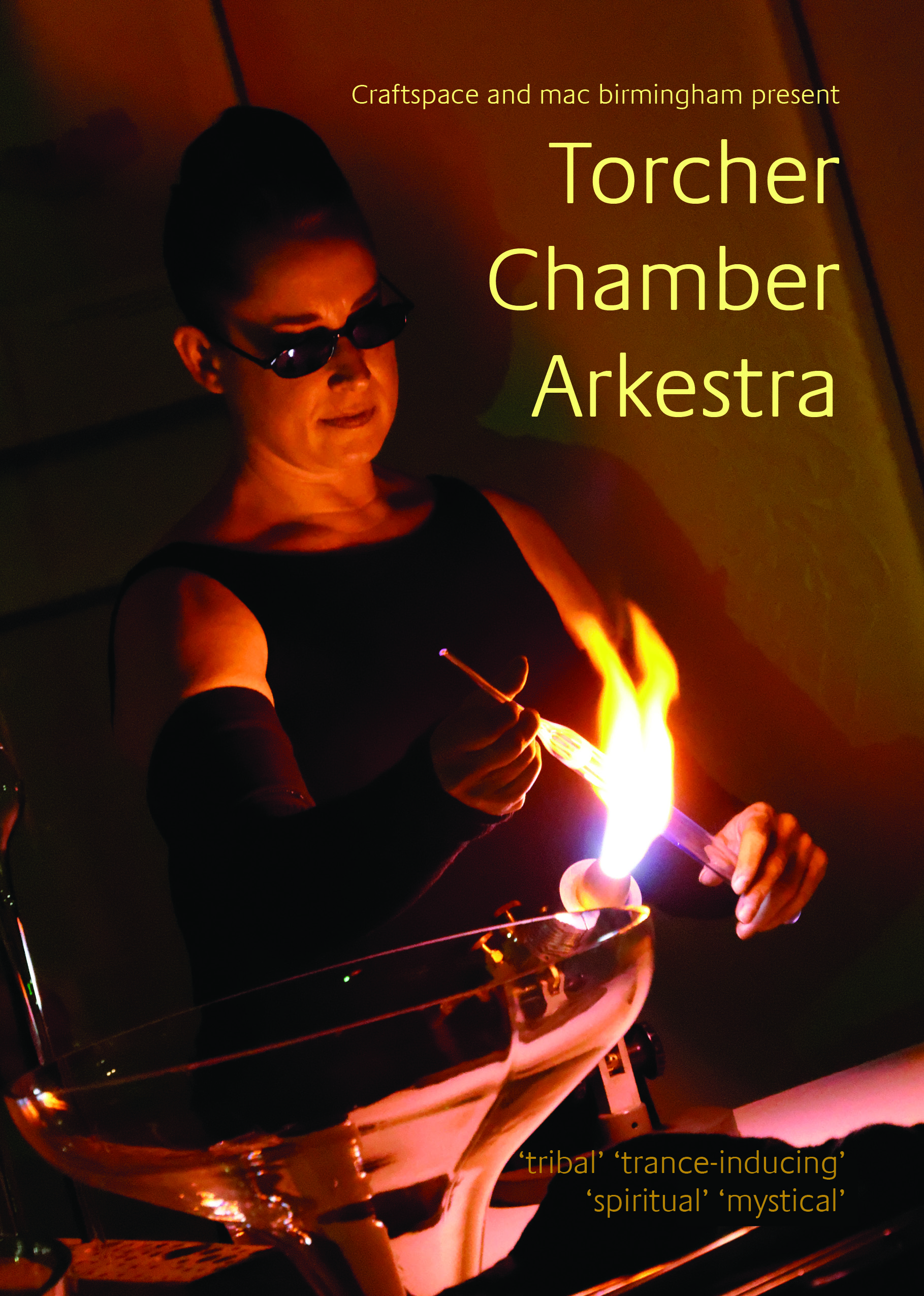 A spellbinding performance with fire, live and electronic music and glass blowing.