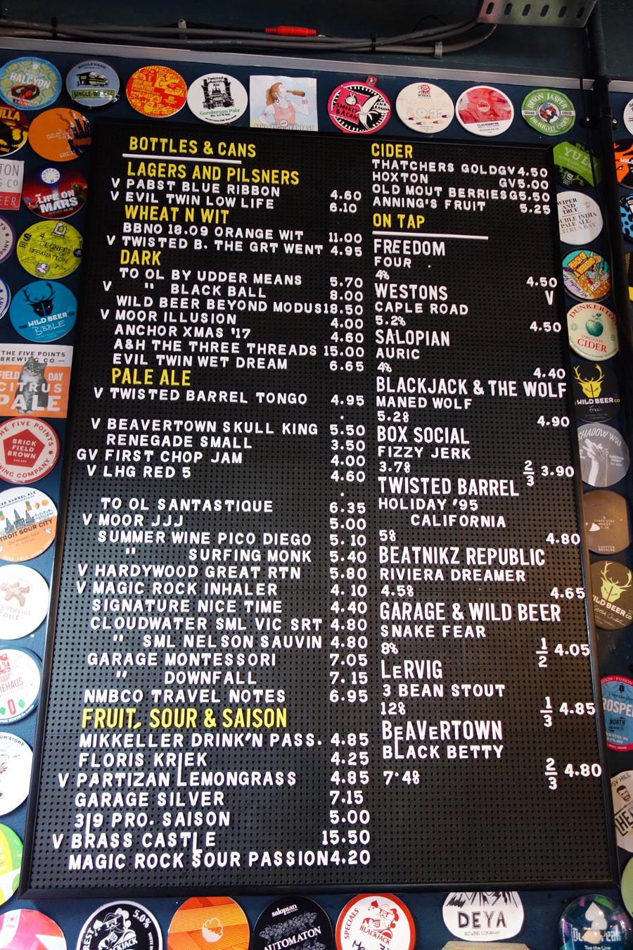 the wolf birmingham drinks board