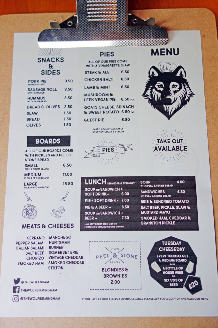 the wolf menu