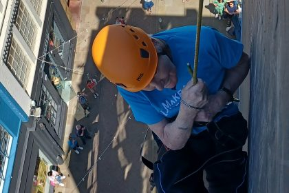 83 year old abseils Custard Factory for Parkinson's UK